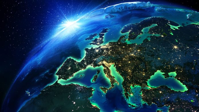 A 3D rendering of Europe as seen from space