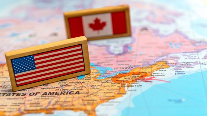 America and Canada on a map.